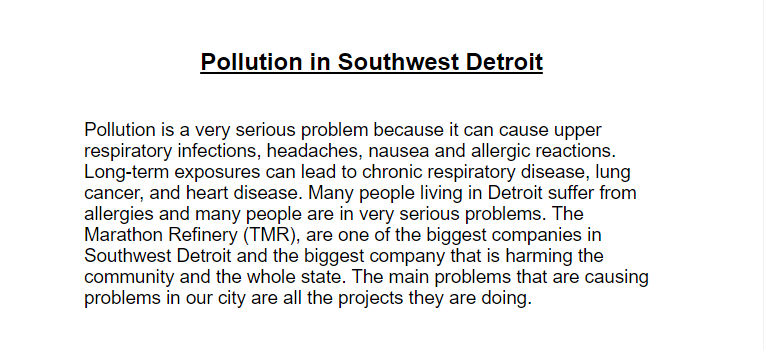 Climate Change in Southwest Detroit — Edwin's Entry